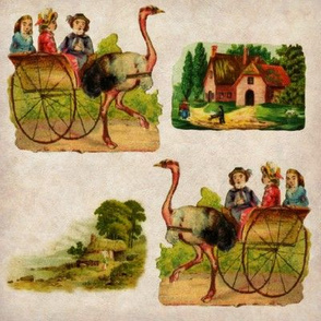 Antique Ostrich Crossing