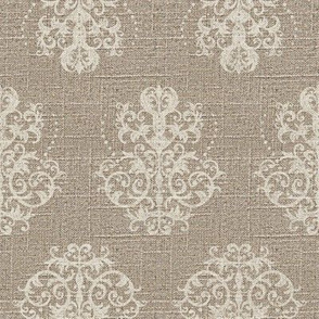 Damask in Cream on Linen