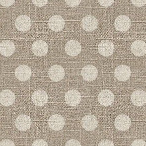 Large Dots in Cream on Linen