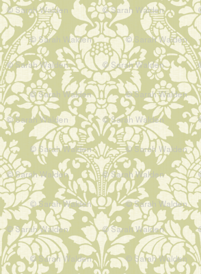 Balmoral Damask ~ Linen Luxe ~ White on Sylvan