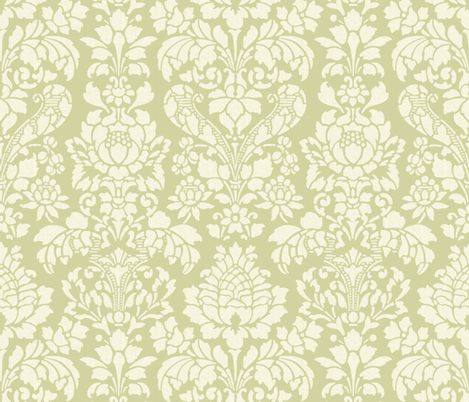 Balmoral Damask ~ Linen Luxe ~ White on Sylvan  fabric by peacoquettedesigns on Spoonflower - custom fabric