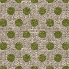 Large Dots in Moss on Linen