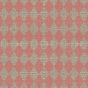 Diamonds in Pink on Linen