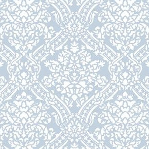 Windsor Damask ~ White on Versailles Fog