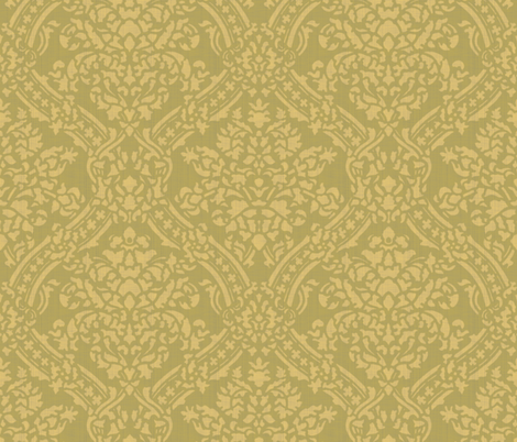 Windsor Damask ~ Provence ~Linen Luxe ~ Rococo Gold and Bayberry fabric by peacoquettedesigns on Spoonflower - custom fabric