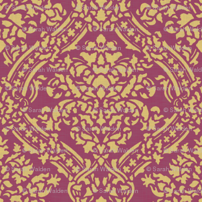 Windsor Damask ~ Provence ~Linen Luxe ~ Rococo Gold and Eponine