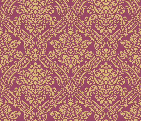 Windsor Damask ~ Provence ~Linen Luxe ~ Rococo Gold and Eponine fabric by peacoquettedesigns on Spoonflower - custom fabric