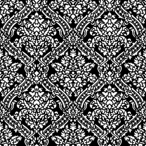 Windsor Damask ~ White and Black