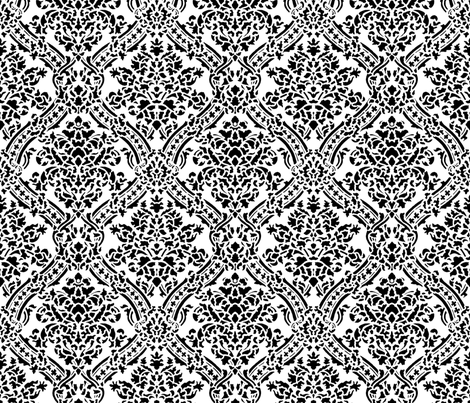 Windsor Damask ~ Black and White fabric by peacoquettedesigns on Spoonflower - custom fabric