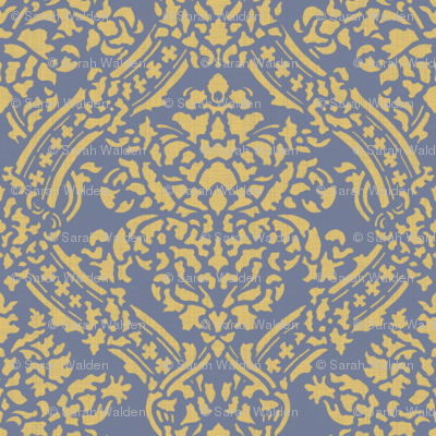 Windsor Damask ~ Provence ~Linen Luxe ~ Rococo Gold and Chevalier