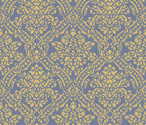 Windsor Damask ~ Provence ~Linen Luxe ~ Rococo Gold and Chevalier fabric by peacoquettedesigns on Spoonflower - custom fabric
