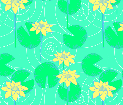 Lily Pond fabric by gypsymothdesigns on Spoonflower - custom fabric