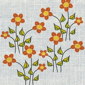 Big Orange Flowers on linen