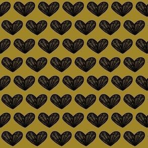 black hearts on gold- hand drawn