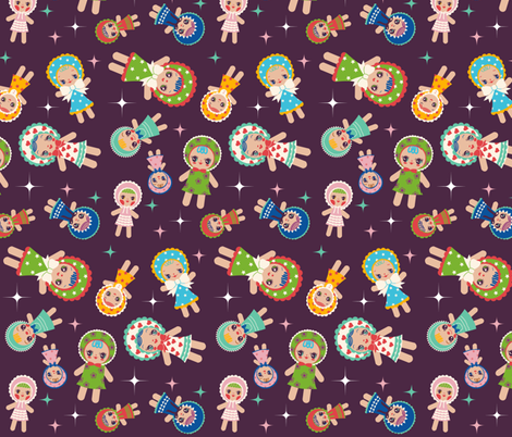 Bunka Dolls fabric by heidikenney on Spoonflower - custom fabric