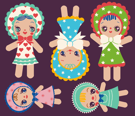 Cut And Sew Bunka Dolls fabric by heidikenney on Spoonflower - custom fabric