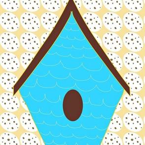 Blue bird houses (LARGE) on Egg pattern