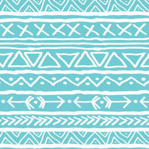 Tribal On Turquoise Large
