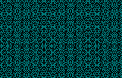 Mermaid Damask Teal and Black fabric by rosalarian on Spoonflower - custom fabric