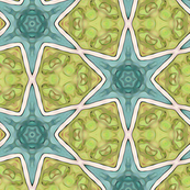 Teal Stars on Lime Green Design