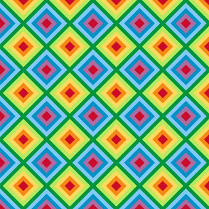 Rainbow Diamond Quilt Me! Border Fabric