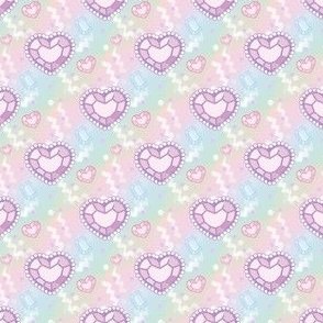 Pastel Heart Jewel Gem Stones Super Kawaii