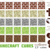 Minecraft cubes - cut & sew