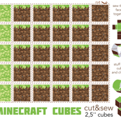 Minecraft cubes - cut & sew - Grass tile