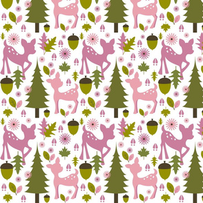 Girly Pink Deer Pattern