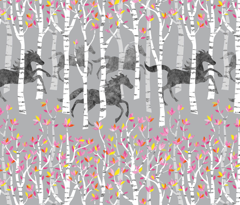 Wallpaper All the Pretty Little Horses fabric by vo_aka_virginiao on Spoonflower - custom fabric