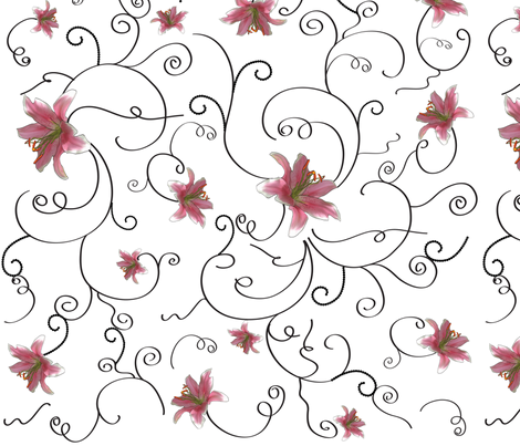 Swirls and lilies fabric by sunshine_creations on Spoonflower - custom fabric