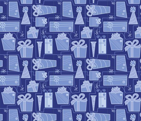 Gifts (blue) fabric by studiofibonacci on Spoonflower - custom fabric