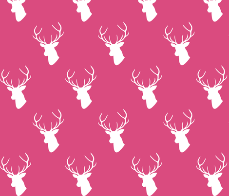 Hot Pink Deer Silhouette fabric by mrshervi on Spoonflower - custom fabric