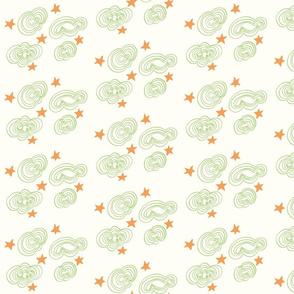 Retro Cloud Sketch -Green