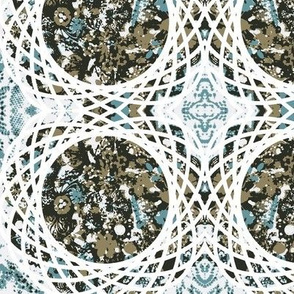 Lattice Garden-teal- brown