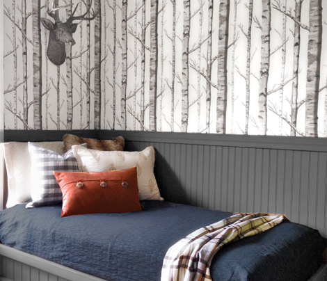 Birch Grove Fabric and Wallpaper in Black and White