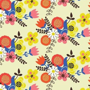 Vignette girls - birds and flowers