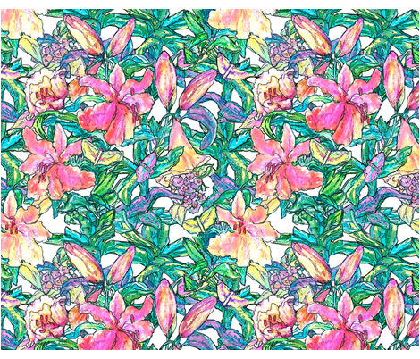 Spring Lily fabric by mahoneybee on Spoonflower - custom fabric