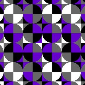 Ace Aware - Retros Circle/Square in Asexuality Awareness Colors (Black, White, Gray, Purple)