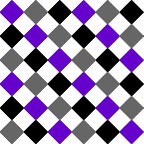 Ace Aware - Diamond / Diagonal Checkered - Asexuality Awareness Colors (Black, White, Gray, Purple)