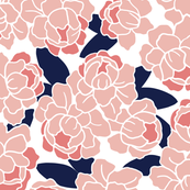 Peonies in Coral and Navy
