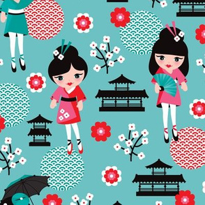 Fun japan geisha cherry blossom print