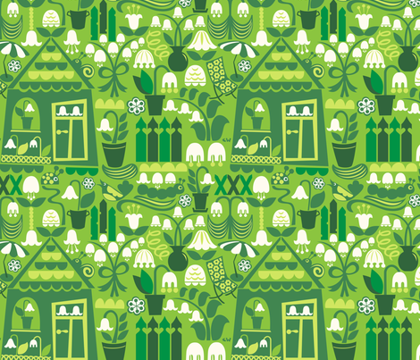 Aunt Lily-of-the-Valley's Garden fabric by christinewitte on Spoonflower - custom fabric