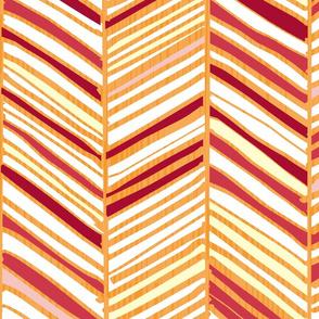 Herringbone Hues of Cranberry Orange by Friztin