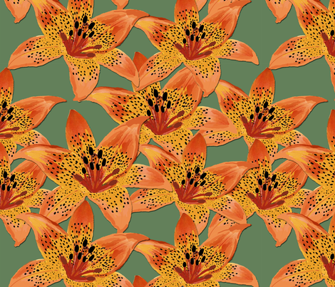 Lilies fabric by nezumiworld on Spoonflower - custom fabric