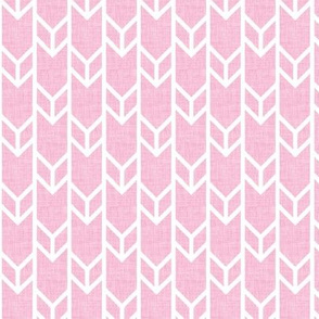 double chevron pink linen