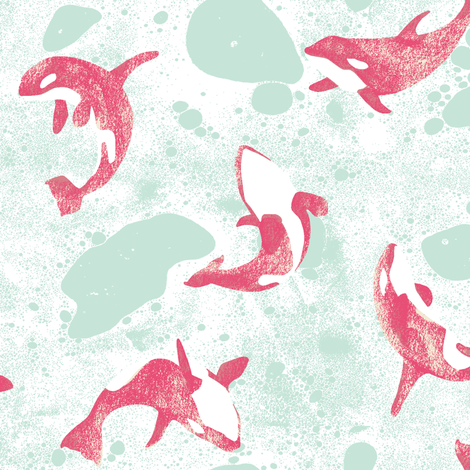 The Orca Whales fabric by honey_gherkin on Spoonflower - custom fabric