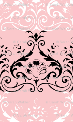 Brighton Damask ~ Black and White on Dauphine