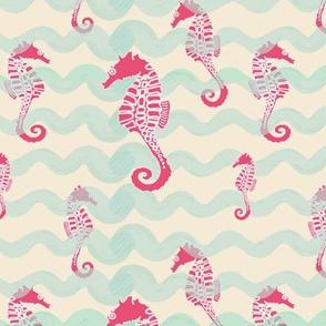 Beachy Seahorses (Vintage Seafarer palette)