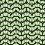 Zombie Sphynx Chevron Dark Green Background